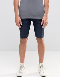Kubban Stretch Skinny Denim Shorts In Raw Hem Navy