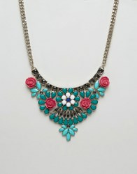Oasis Flower Statement Necklace Green Navy Pink Multi
