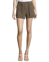 Halston Heritage Woven Patch Shorts Sage Green