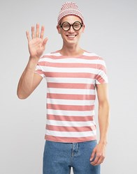 Asos Halloween Longline Stripe T Shirt In White Red White Red