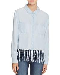 Aqua Chambray Fringe Shirt Medium Wash
