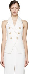 Balmain White Double Breasted Tweed Vest