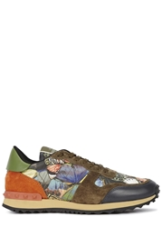 Valentino Butterfly Print Leather Trainers