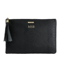 Graphic Image Uber Clutch In Embossed Python Leather Black Personalized