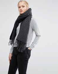 Cheap Monday Oversized Knitted Scarf With Tassels In Black Black