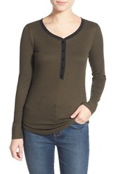 Junior Women's Lush Clothing Stripe Long Sleeve Henley Tee Olive Black