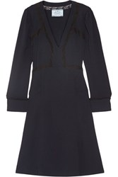 Prada Lace Trimmed Crepe Dress Midnight Blue