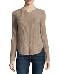 Neiman Marcus Cashmere Ribbed Baseball Hem Sweater Tan