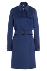 Burberry London Tempsford Wool Trench Coat With Cashmere Blue