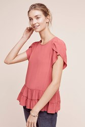 Anthropologie Tiered Tunic Top Light Red