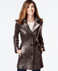 Anne Klein Petite Leather Blazer Jacket Chocolate
