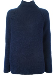 Vanessa Bruno Athe Turtle Neck Chunky Knit Sweater Blue