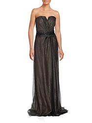 Strapless Studded Gown Black Gold