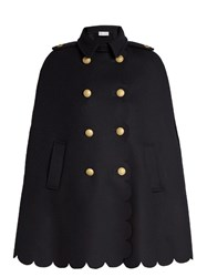 Red Valentino Scallop Edged Wool Blend Cape Navy