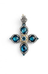 Women's Konstantino 'Thalassa' Blue Topaz Cross Pendant Silver London Blue Topaz