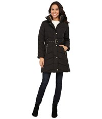 Cole Haan Single Breasted Belted Down Coat Black Women's Coat
