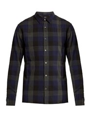 Vince Buffalo Checked Cotton Shirt Blue