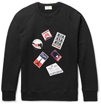 Maison Kitsune Printed Loopback Cotton Jersey Sweatshirt Black