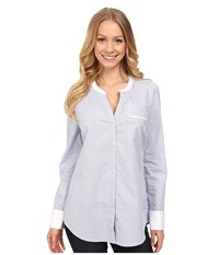 Nydj Fit Solution Cotton Dobby Tunic Mid Ocean Women's Long Sleeve Button Up Gray