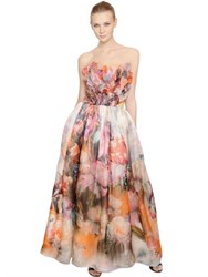 Francesca Piccini Floral Printed Silk Organza Dress
