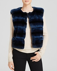 Maximilian Rabbit Fur Vest With Suede Insets Navy