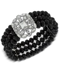 2028 Silver Tone Black Bead And Crystal Stretch Bracelet