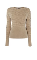 Karen Millen Cable Knit Jumper Brown