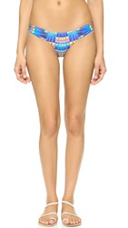 Mara Hoffman Flight Azure Ruched Side Bikini Bottoms Blue Multi