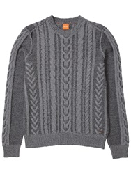 Boss Orange Kaas Cable Knit Jumper Light Pastel Grey