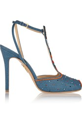 Charlotte Olympia Pocahontas Beaded Canvas Sandals Blue