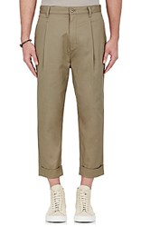 Helmut Lang Men's Twill Crop Trousers Beige Tan Beige Tan