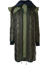 Sacai Layered Puffer Coat Green