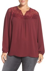 Sejour Plus Size Women's Lace Yoke Blouse Burgundy London