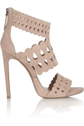 Alaia Cutout Suede Sandals Pink