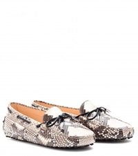 Tod's Heaven New Lacetto Snakeskin Loafers Brown