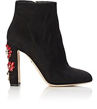 Dolce And Gabbana Women's Jeweled Ankle Boots Black Blue Black Blue