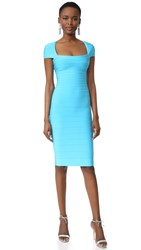 Herve Leger Margot Cap Sleeve Dress Caribbean Blue