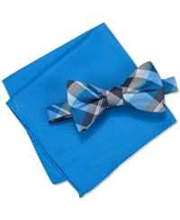 Alfani Men's Hudson Plaid Pre Tied Bow Tie And Pocket Square Set Only At Macy's Blue