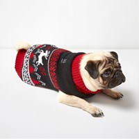 River Island Womens Red Ri Dog Christmas Knit Jumper
