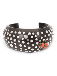 Mcl By Matthew Campbell Laurenza Beetle Applique Studded Cuff Black