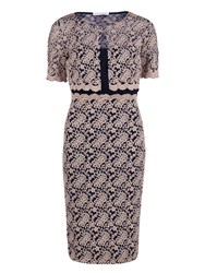 Gina Bacconi Navy Pink Scallop Lace Dress And Jacket
