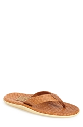 Island Slipper 'Sassari' Woven Leather Thong Sandal Men Cognac