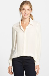 Vince Camuto Pleat Sleeve Blouse Antique White