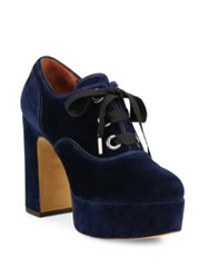 Marc Jacobs Beth Velvet Oxford Pumps Navy