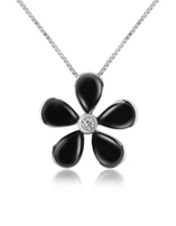 Del Gatto Diamond Gemstone Flower 18K Gold Pendant Necklace Black Onyx