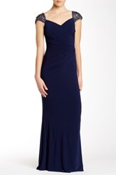 Js Boutique Beaded Cap Sleeve Gown Blue
