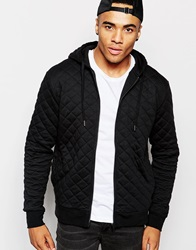 New Look Quilted Zip Through Hoodie Black