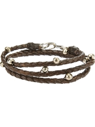 Riccardo Forconi Beaded Weaved Bracelet Brown