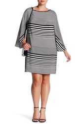 Donna Ricco Striped Shift Dress Plus Size White