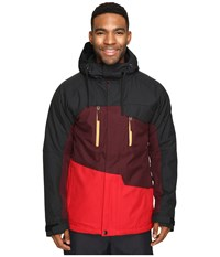 686 Authentic Geo Insulated Jacket Red Color Block Men's Coat Black
